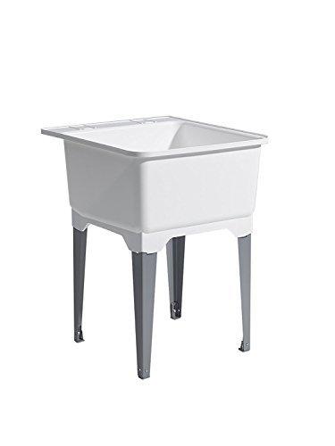 CASHEL 1950-20-11 Standard Utility Sink - Essential Sink Kit, Steel Leg, White by Cashel