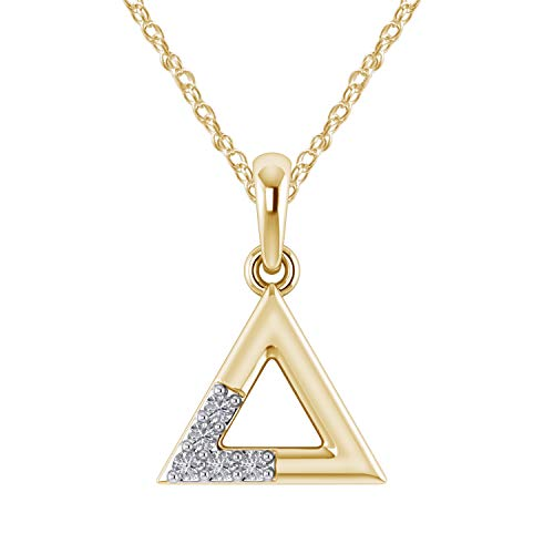 - Pretty Jewels 0.09 Ct Real Diamond Geometric Sign Triangle Pendant Necklace in 925 Sterling Silver (G-H/I1-I2) (Yellow-Gold-Plated-Silver)