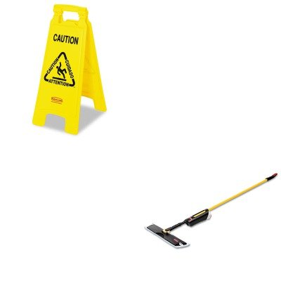 KITRCP3486108RCP611200YW - Value Kit - Light Commercial Spray Mop, 18quot; Frame, 52quot; Steel Handle (RCP3486108) and Rubbermaid-Yellow Folding Floor Signs ()