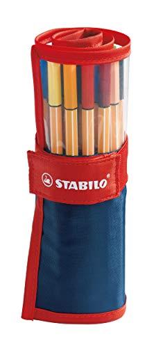 Stabilo Point 88 Fineliner Pens, 0.4 mm - 25-Color Rollercase Set