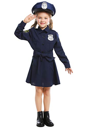 SWEETYSTORE Halloween Policewoman Long Sleeve Dress Cosplay Jacket Officer Frisky Costume with Cap