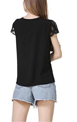 Biubiucla Corta Donna Moda T Camicetta Estive Superiori Elegante Giuntura Manica In Maglietta shirt Girocollo Pizzo Chiffon Black Casual rrRwxqgdX