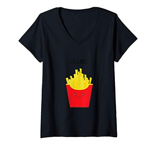 Womens Funny Best Friends Matching Hamburger & French Fries Shirt V-Neck -