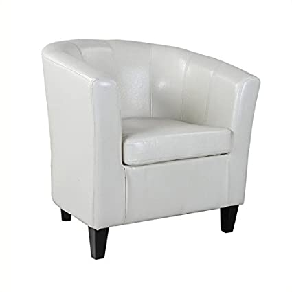 Beau Atlin Designs Leather Club Barrel Chair In White