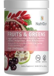 NutriDyn Fruits and Greens *Certified Organic* w/ Acai, Gogi, Mangosteen, Noni & Pomegranate Super Fruits 303.6 Grams (Pink Lemonade)](Lemonade Fruit Seeds)
