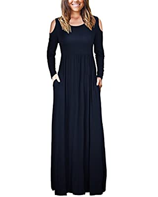 KILIG Women Cold Shoulder Long Sleeve Loose Plain Maxi Dresses Casual Long Dresses with Pockets
