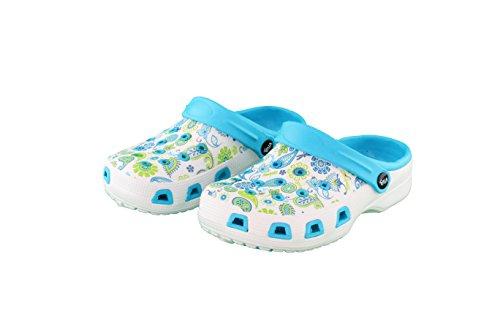 Damen Clogs Pantoffel Schuhe Gartenschuhe Hausschuhe - Farbe: Blau/Weiß - Größe: 39 - Paisleymuster von Brandseller