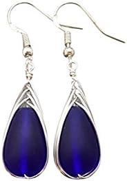 "Handmade in Hawaii, wire braided cobalt Sapphire blue sea glass earrings,""September Birthstone"", (Ha"