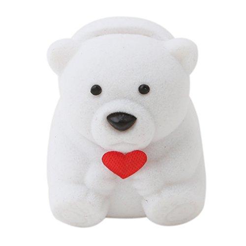 SOURBAN Cute Little Bear Velvet Jewllery Box For Jewelry Earrings Pendant Necklace Jewelry Case Gift Box White