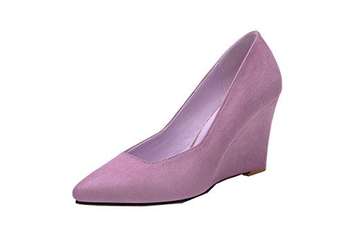 iVan Women's Fashionable Slip sole Pumps Mommy Suede Leather Comfortable Shoes Mother's Best Gift(35 M EU / 5.5 B(M) US, Pink)
