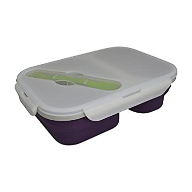 Eco Vessel Collapsible Silicone Lunch Box and Food Container, 6-Cup, Purple