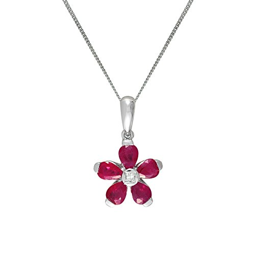Ivy Gems femme  9 carats (375/1000)  Or blanc|#Gold Poire   Rouge Rubin