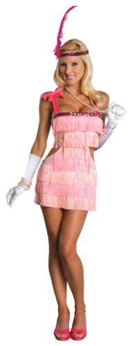 Secret Wishes Women's Pink Flapper Adult Costume, Pink, (1920's Historical Costume)