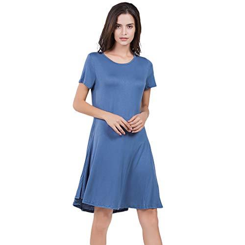 (Dressin Women Basic Dress,Fashion Knee Length Solid Mini Dress Short Sleeve Crew Neck Dress Dress Summer Sundress Navy)