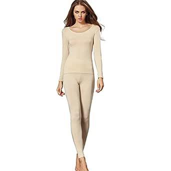 Liang Rou Women's Crewneck Long Johns Ultra Thin Modal Thermal Underwear Top & Bottom Set Apricot XX-Large