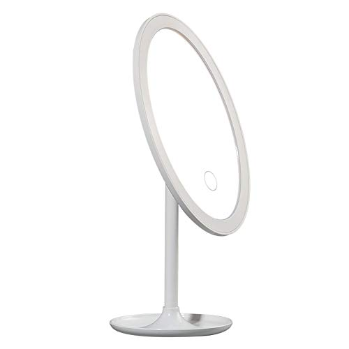 Oval LED Makeup Mirror 360-degree Rotation,USB charging interface,Detachable/Storage Round Non-slip Base,3 Modes -