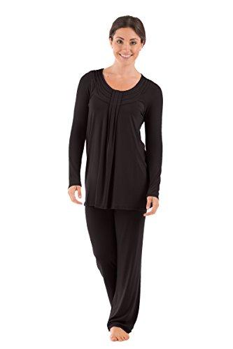 Texere Women's Long Sleeve Pajama Set (Replenish, Black, X-Large/Petite) Best Sleepwear for Her WB0006-BLK-XLP