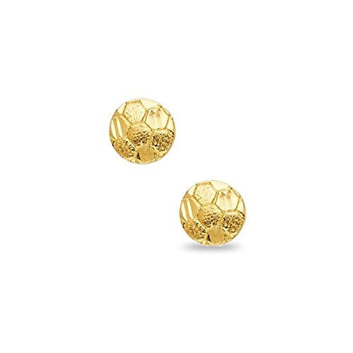 Solid 14k Yellow Gold Soccer Ball Stud Earrings Round Sports Ball Post Studs Genuine Design 8 x 8 mm ()