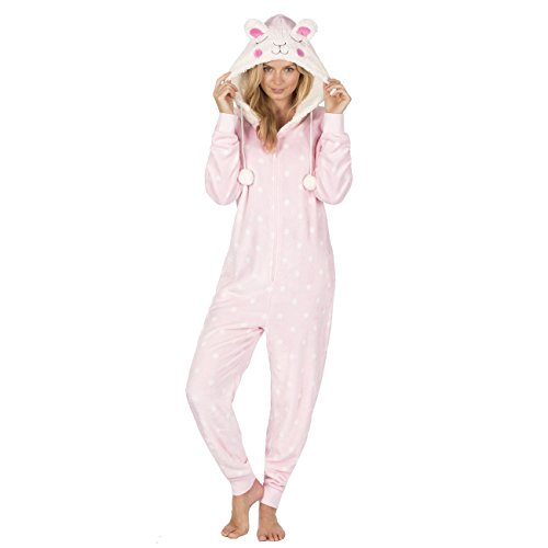 Forever Dreaming Adult Womens Novelty Animal Jumpsuit - Hooded Fleece Sleepsuit Pajamas Pink S-M (Sheep Onesie For Adults)