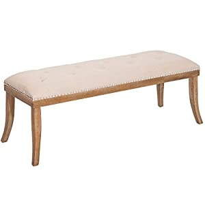 Harper&Bright Designs Heyward Upholstered Button Tufted Bench with Solid Wood Legs and Nailhead Trim