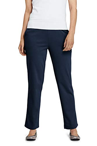 Waist Elastic Pants Knit - Lands' End Women's Petite Sport Knit High Rise Elastic Waist Pull On Pants Classic Navy