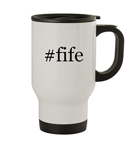 - #fife - 14oz Sturdy Hashtag Stainless Steel Travel Mug, White