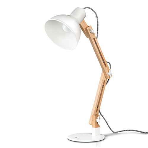 Tomons Wood Swing Arm Desk Lamp, Designer Table Lamp, Reading Lights, Study Lamp, Work Lamp, Office Lamp, Bedside Nightstand Lamp – White