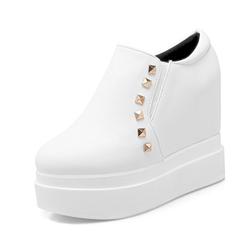 Ladola Womens Platform Round-Toe Waterproof Grommets Urethane Boots White 5yLH2iV4