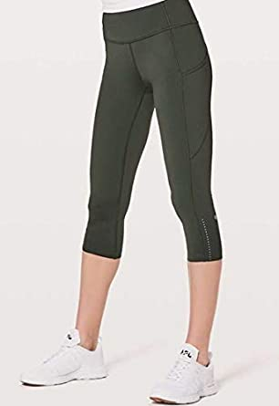 362d450bfbecf Lululemon Fast and Free Crop II Evergreen EVGR Green Size 12 at ...