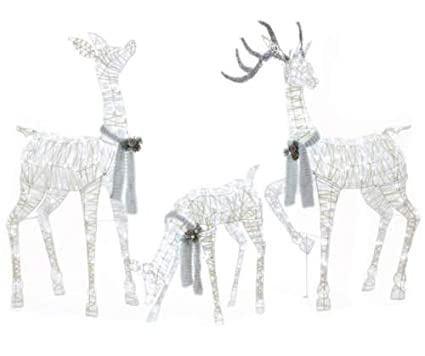 Amazon Com Outdoor Christmas 3pc White Lighted Deer Family