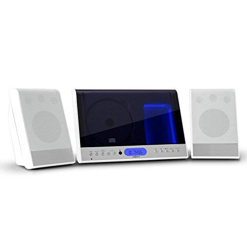 oneConcept Vertical 90 Stereoanlage Design Kompaktanlage mit CD-Player (MP3-fähig, Radio-Tuner, Wecker, Fernbedienung, Wandmontage geeignet) weiß