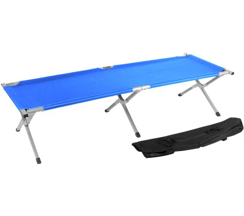 Trademark Innovations Portable Folding Camping Bed and Cot, 260-Pound, Blue, Outdoor Stuffs