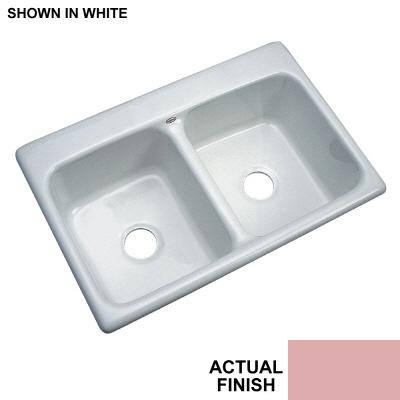 UPC 692054405629, Thermocast Newport 33 In. x 22 In. Cast Acrylic Double Bowl Kitchen Sink, Dusty Rose