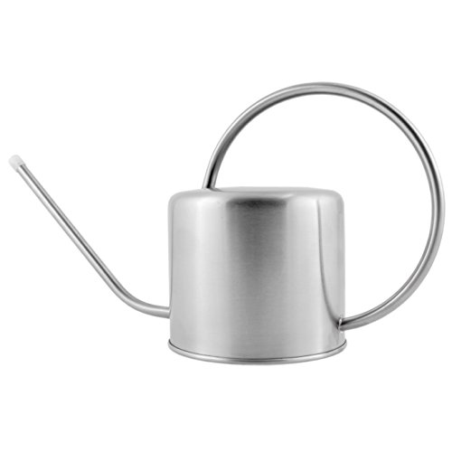Deluxe Brushed Stainless Steel Watering Can 1.3 Quart / 44oz Capacity, Long Spout & Elegant Curved Handle