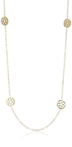 14k Yellow Gold Diamond Cut Multi-Open Circle Necklace, 18