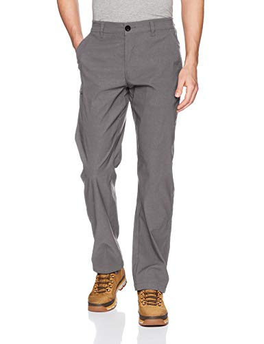 UNIONBAY Men's Rainier Lightweight Comfort Travel Tech Chino Pants, Charcoal, (Breathable Nylon Pant)