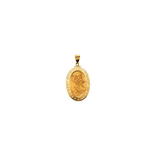 Jewels By Lux 18K Yellow Gold 29x20mm Oval St. Christopher -