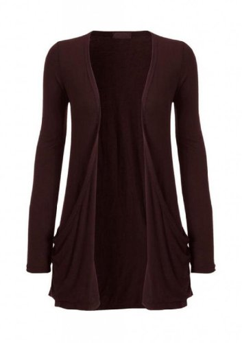 Hot Hanger Ladies Plus Size Pocket Long Sleeve Cardigan 16-26 (24-26 XXXL, Brown)
