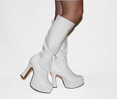 554e92932db4 Disco - White Patent PVC Platform 4½ Inch Heel 60s 70s Retro Knee High GoGo  Boots - UK Size 11