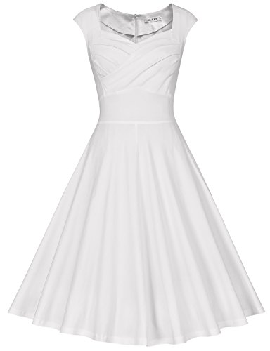 MUXXN Women's 1950s Retro Vintage Cap Sleeve Party Swing Dress(M,White)