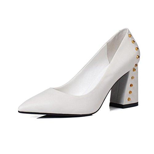 XUERUI Escarpins Mlle Talons Hauts Stilettos Sandales Cérémonie De Mariage Graduation Travailler Chaussures De Mariée Tempérament Élégant Sexy Beau Fit Talon De 8cm Blanc jrn8yx2k