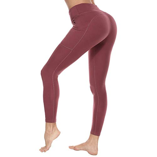 Eunchaes High Waist Yoga Pants with Pockets Ultra Soft Workout Pants for Women Tummy Control Yoga Leggings (Pink, X-Large)