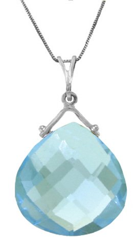 14K White Gold Necklace with 8.5ct Natural pear-shaped Blue Topaz (Shaped Pear Topaz)