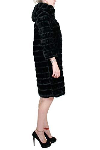 Colore 19 Collezione Nero inverno Ecopelliccia In Kaos Donna Cappotto 2018 Autunno qwISZS