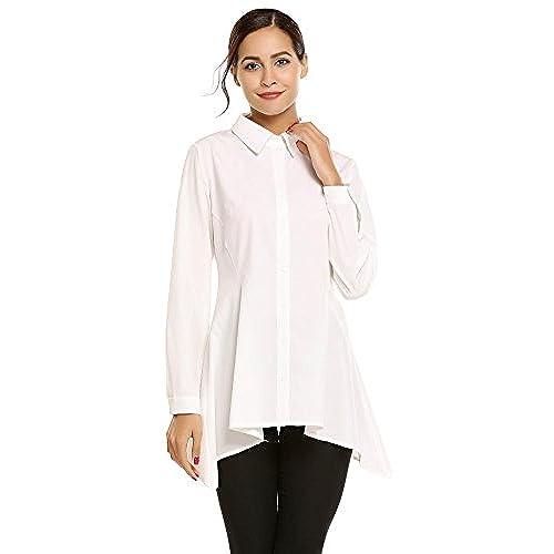 Meaneor Camisa Manga Larga Color Sólido de Casual Dobladillo Irregular Característica para Mujer Blanco M