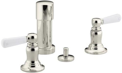 KOHLER K-10586-4P-SN Bancroft Vertical Spray Bidet Faucet with White Ceramic Lever Handles, Vibrant Polished Nickel ()