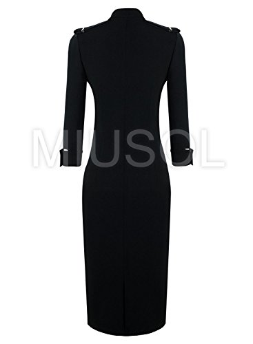 Womens Black Stand-up Collar 3/4 Sleeve Slim Fit Pencil Dresses