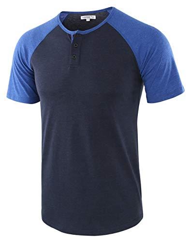 HARBETH Men's Casual Short Sleeve Henley Shirt Raglan Fit Baseball T-Shirts Tee Navy/H.Blue L