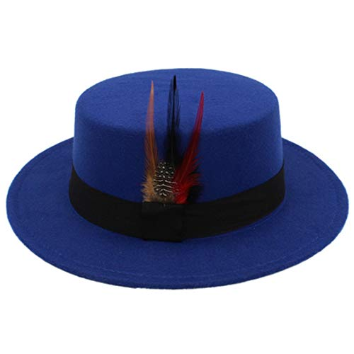 (Men's Classic Wool Felt Fedora Hats Fashion Vintage Porkpie Hat Jazz Cap with Feather and Black)