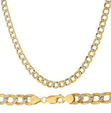 14K Yellow Gold 5.0mm Thick Cuban Curb Diamond Cut Pave Chain Necklace -Lobster Clasp (30)